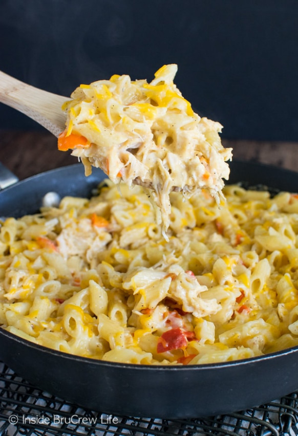Cheesy Chicken Pasta Skillet Recipe - Inside BruCrew Life - recipes canned chicken