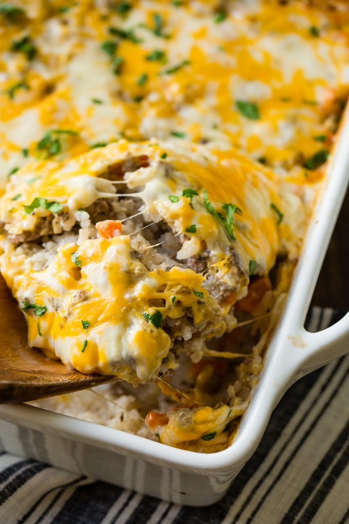 Cheesy Ground Beef And Rice Casserole | Oh Sweet Basil - Dinner Recipes With Ground Beef
