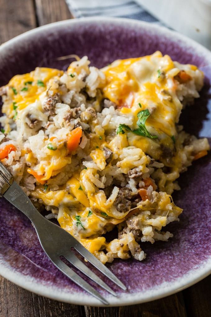 Cheesy Ground Beef and Rice Casserole | Oh Sweet Basil - recipes ground beef casseroles healthy