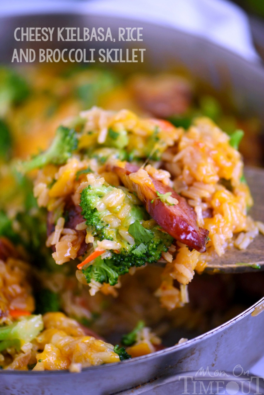 Cheesy Kielbasa, Rice and Broccoli Skillet - dinner recipes yummly