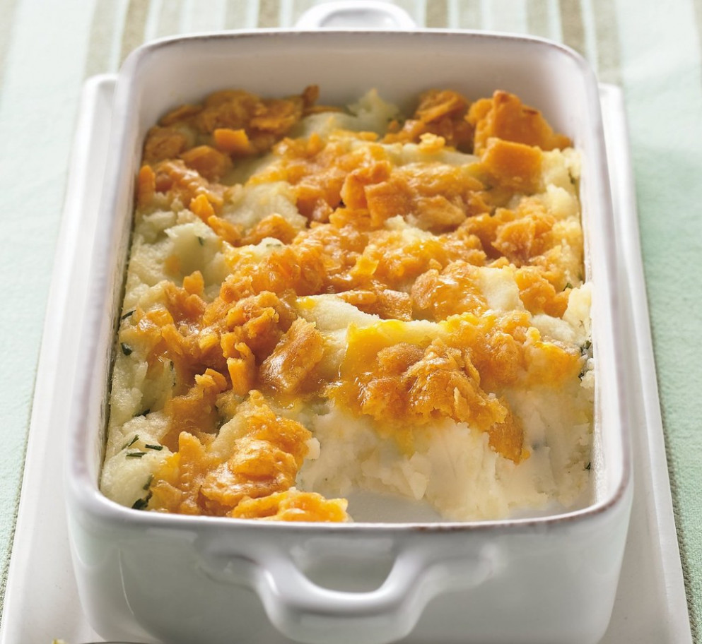 Cheesy-Topped Mashed Potato Casserole Recipe - recipes easter dinner