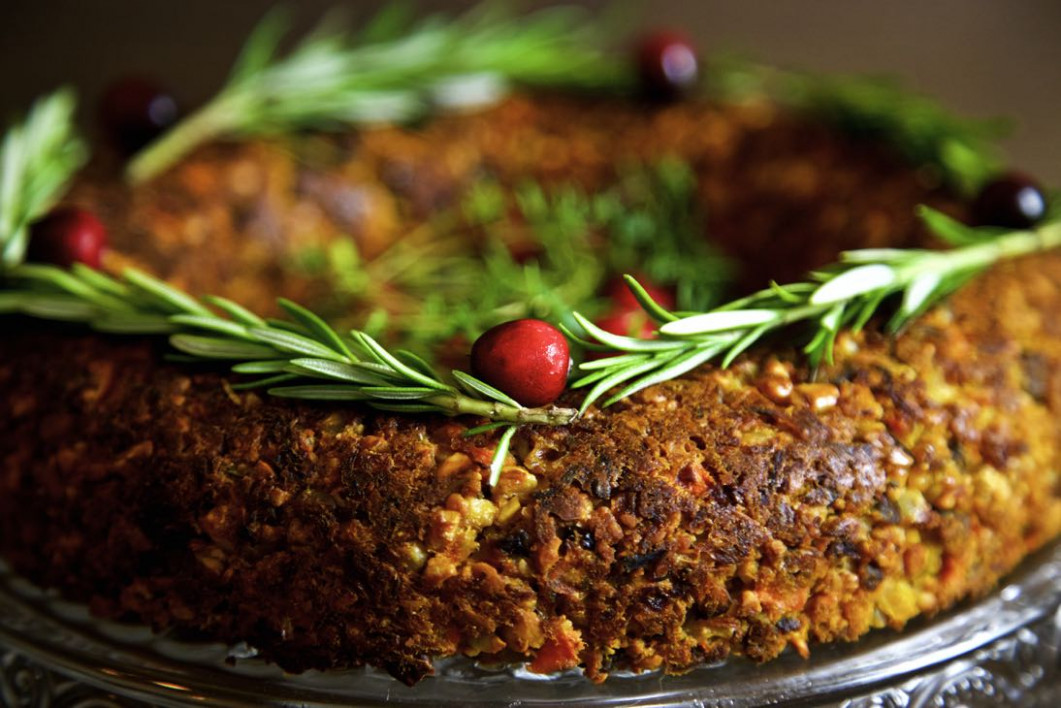 Chestnut and Cashew Vegan Christmas Roast from Thinly Spread - chestnut recipes vegetarian