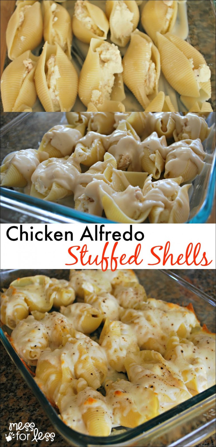 Chicken Alfredo Stuffed Shells - Mess For Less - Chicken Recipes Cheap