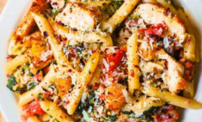 Chicken And Bacon Pasta With Spinach And Tomatoes In ..