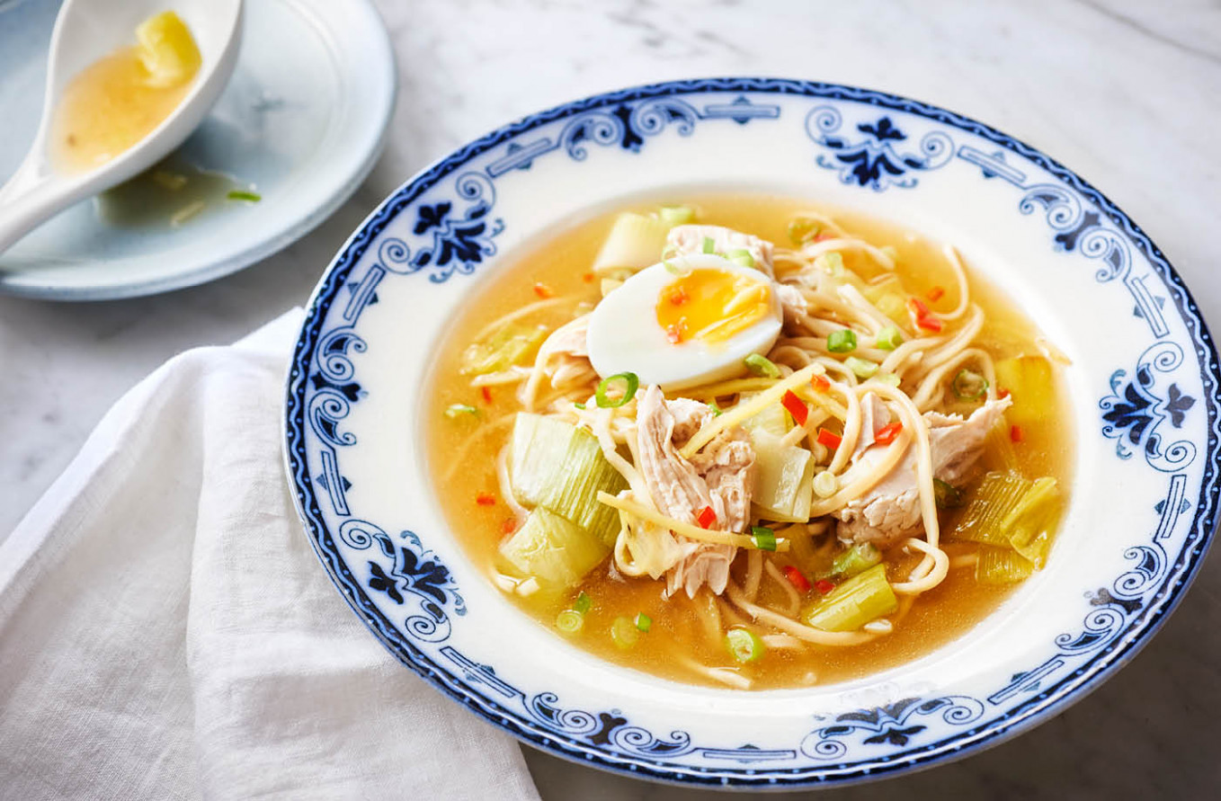 Chicken and leek noodle soup - tesco food recipes