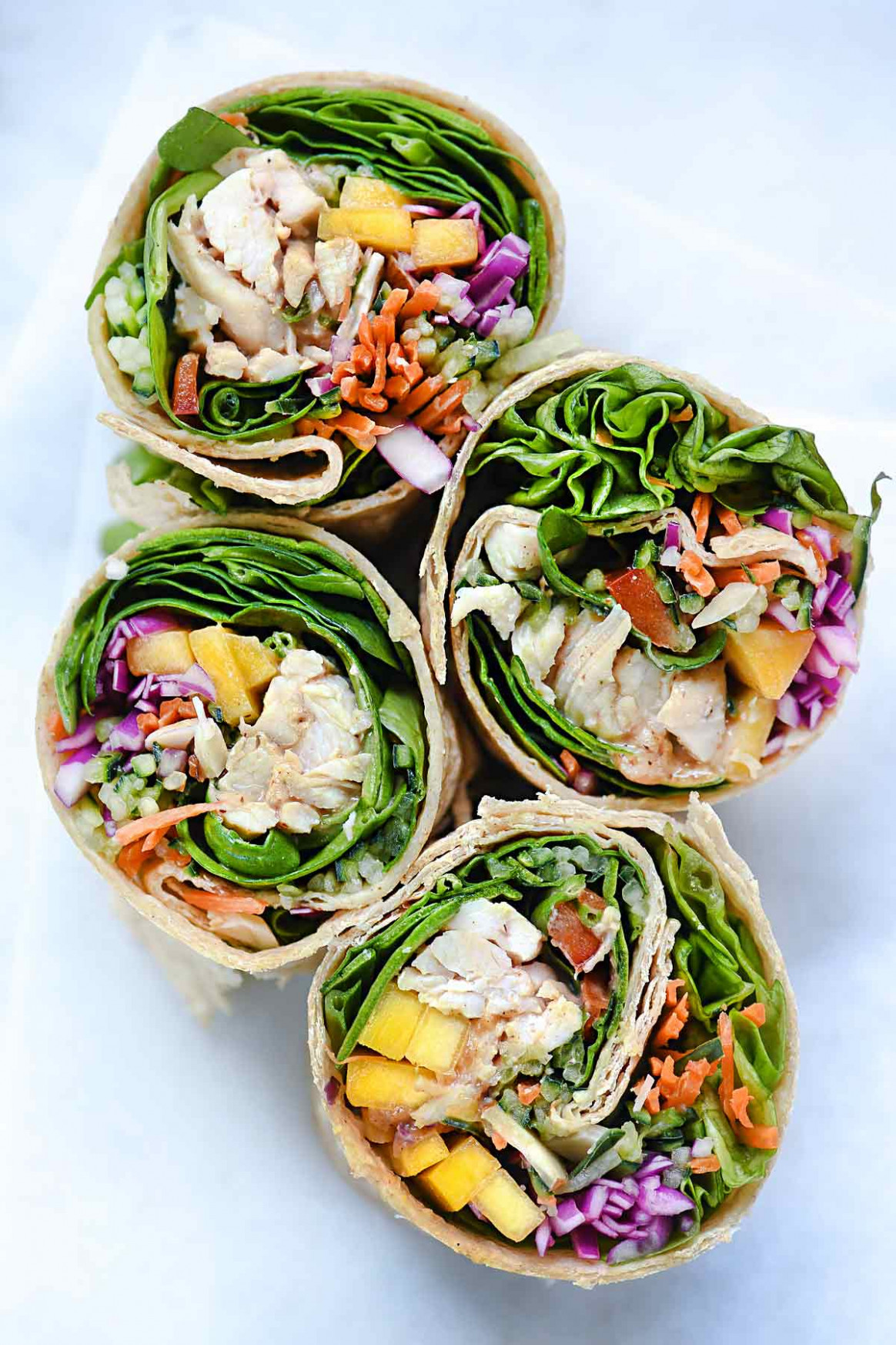 Chicken and Mango Rainbow Veggie Wraps | foodiecrush