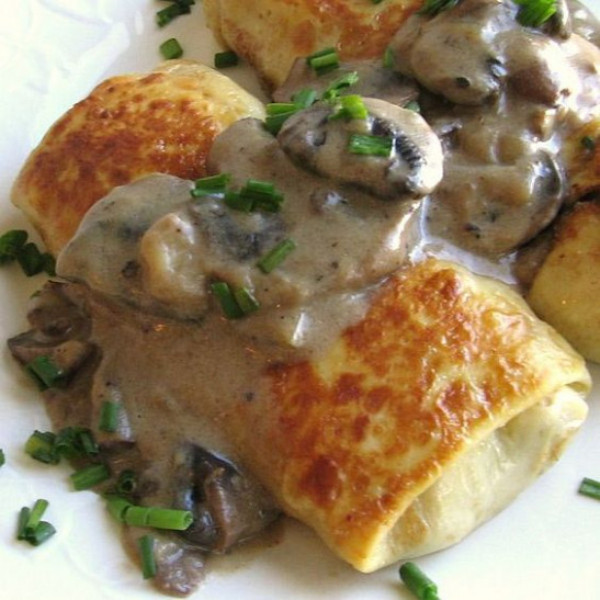 Chicken and Mushroom Stuffed Crepes (Blini) | Recipe ..