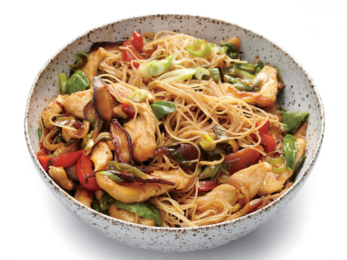 Chicken and Rice Noodle Stir-Fry with Ginger and Basil - vermicelli noodle recipes chicken