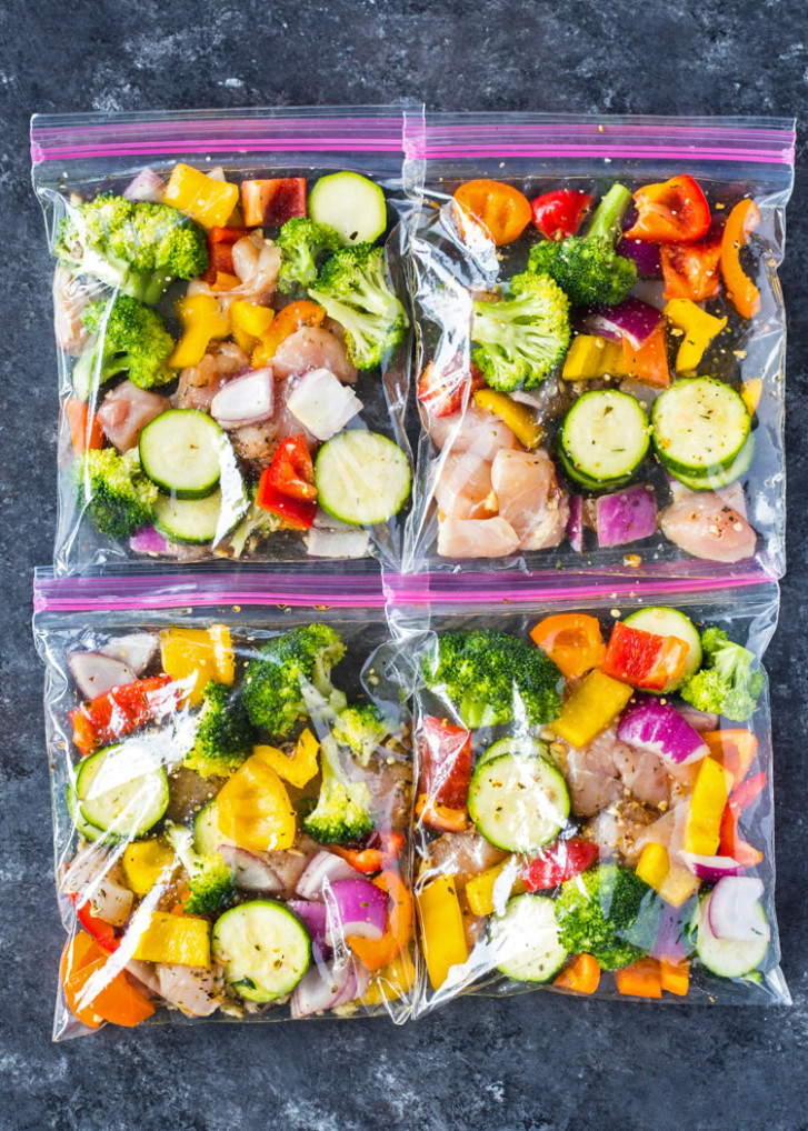 Chicken and Veggie Freezer Packs - chicken recipes that freeze well