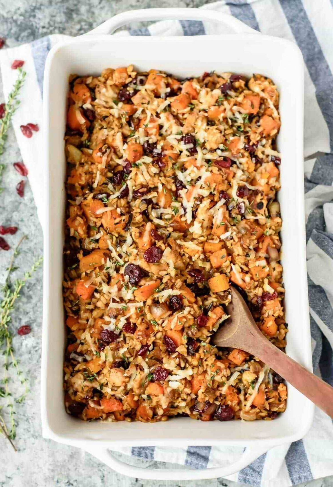 Chicken and Wild Rice Casserole with Butternut Squash and Cranberries - healthy chicken and rice recipes