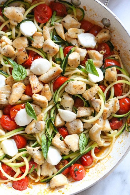 Chicken and Zucchini Noodle Caprese | Skinnytaste - chicken recipes zucchini