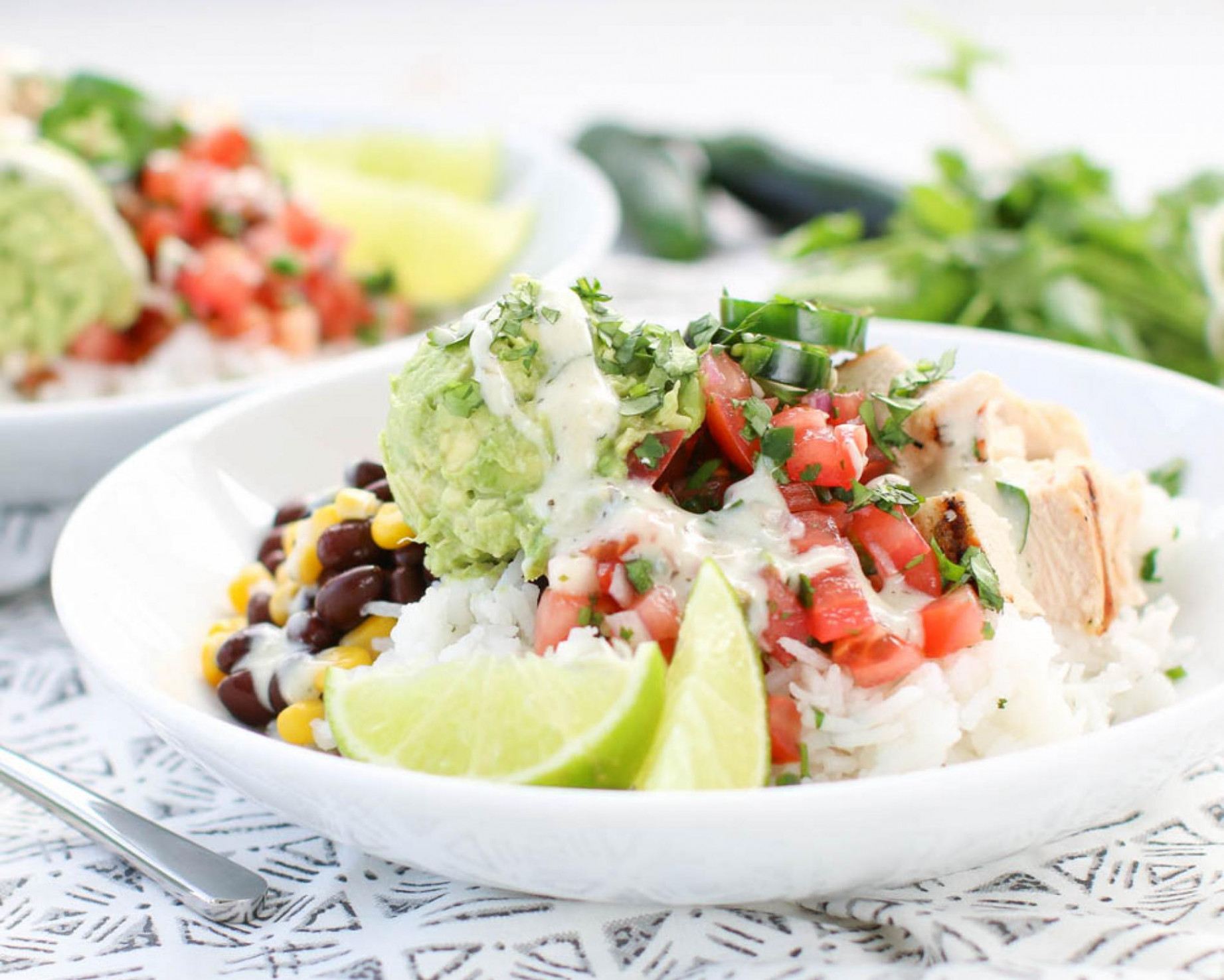 Chicken Avocado Cilantro Burrito Bowls - avocado recipes chicken