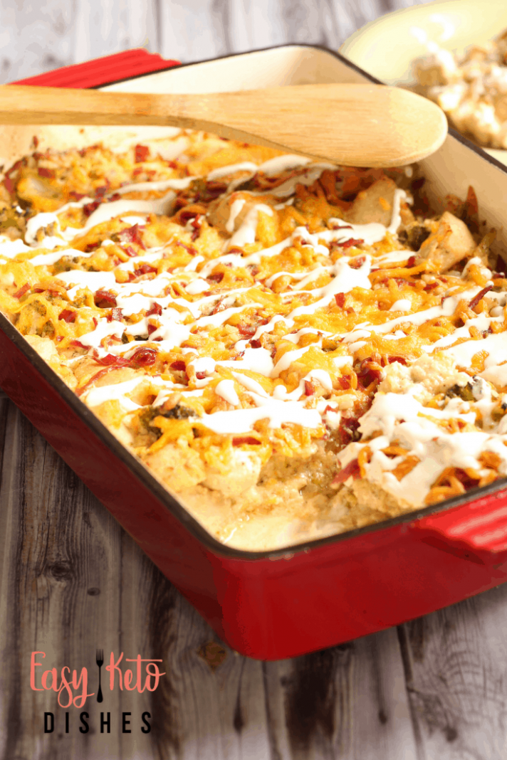 Chicken Bacon Ranch Casserole (keto, low carb) - chicken recipes casserole