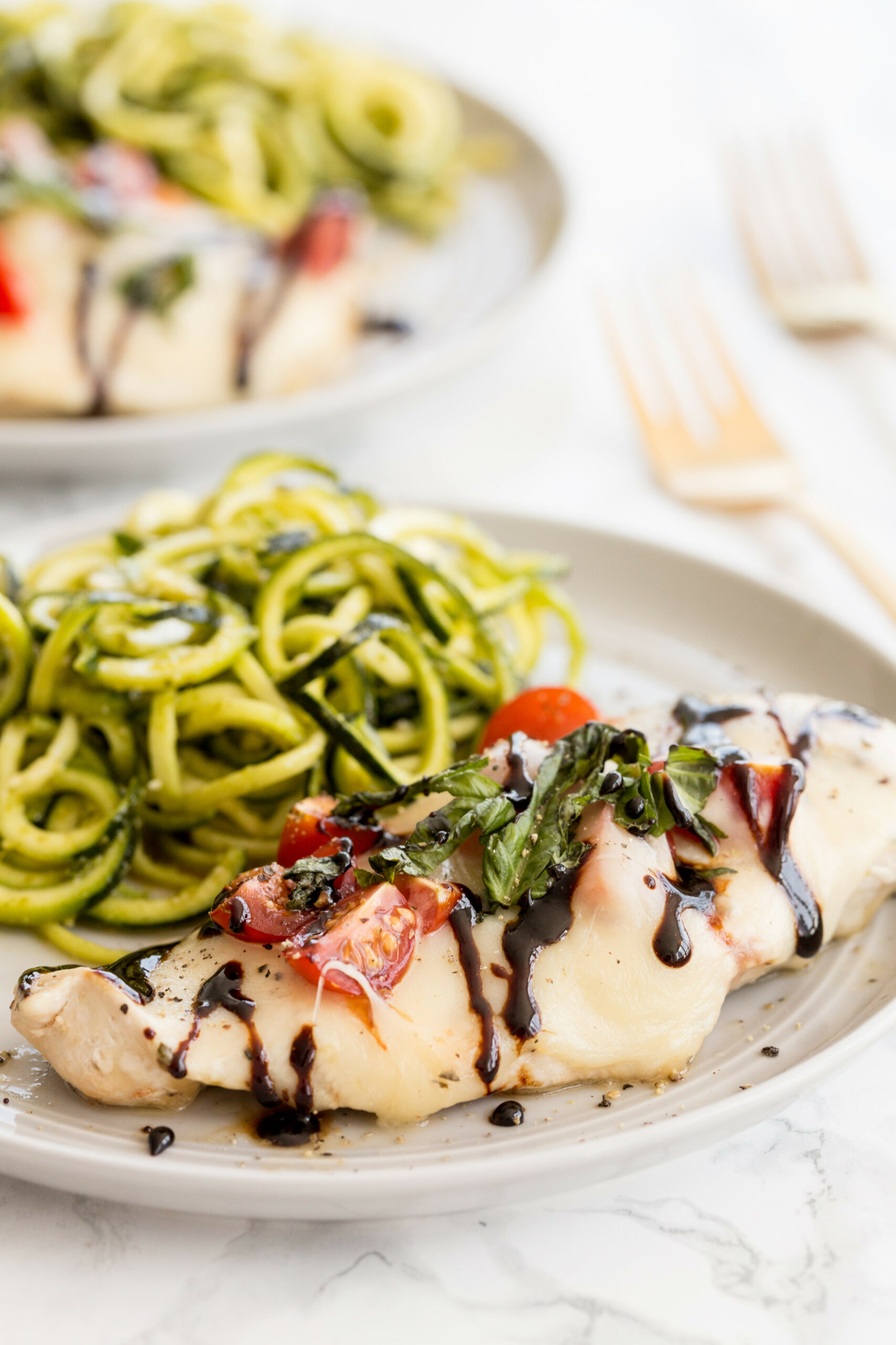 Chicken Caprese with Pesto Zucchini Noodles - chicken recipes zucchini