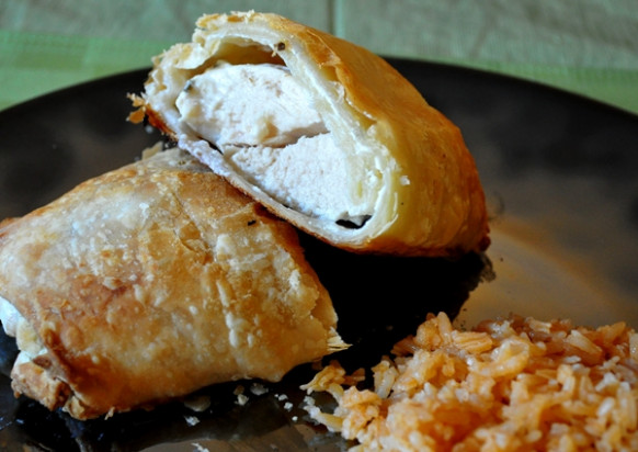 Chicken & Cream Cheese Stuffed Puff Pastry – SheKnows - puff pastry recipes dinner