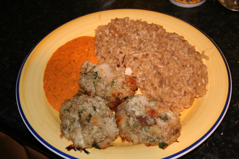 Chicken Croquettes With Roasted Pepper Sauce - Recipes Chicken Thighs Healthy