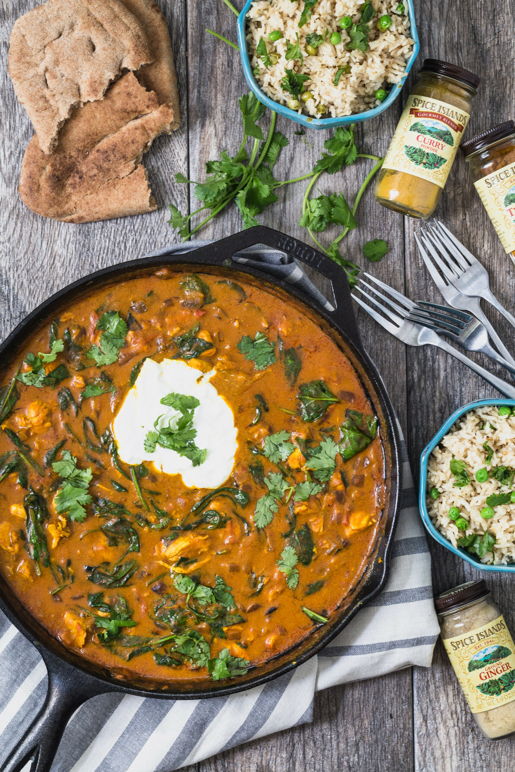 Chicken curry and spinach with coconut lime rice - good food recipes for dinner