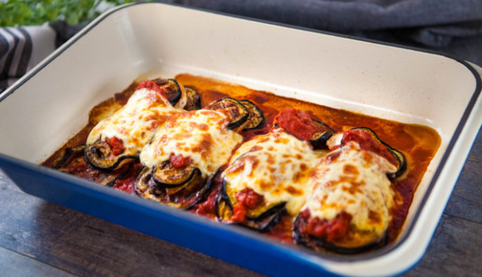 Chicken, Eggplant & Tomato Bake | Good Chef Bad Chef - recipe vegetarian eggplant