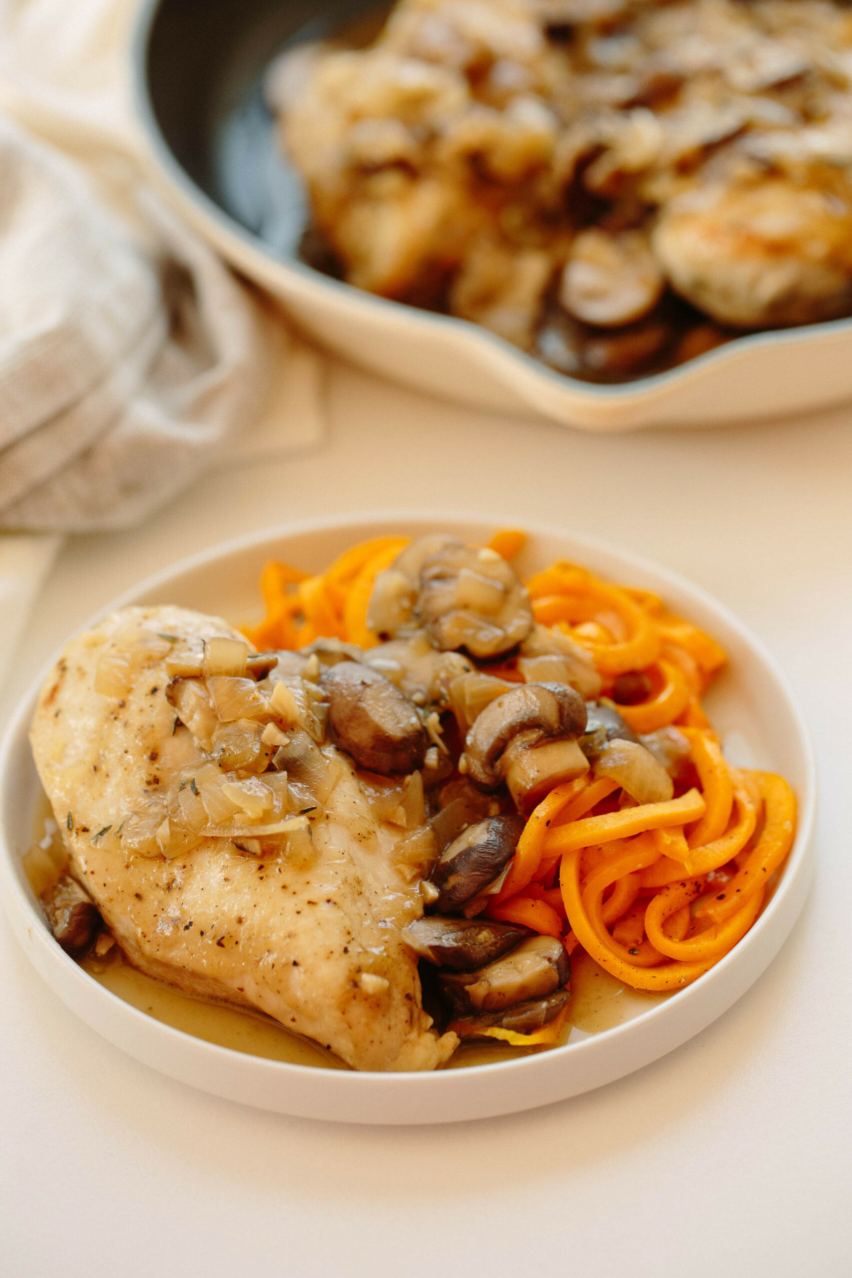 Chicken In Mushroom Sauce With Butternut Squash Noodles - Noodle Recipes Chicken