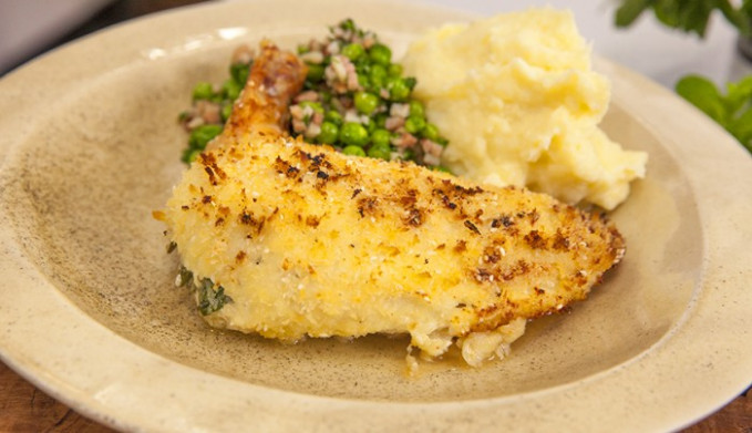 Chicken Kiev with Peas and Mash | Good Chef Bad Chef - recipes bone in chicken breast