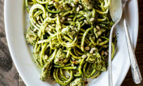 Chicken Pesto Zucchini Noodles - Dishing Up the Dirt