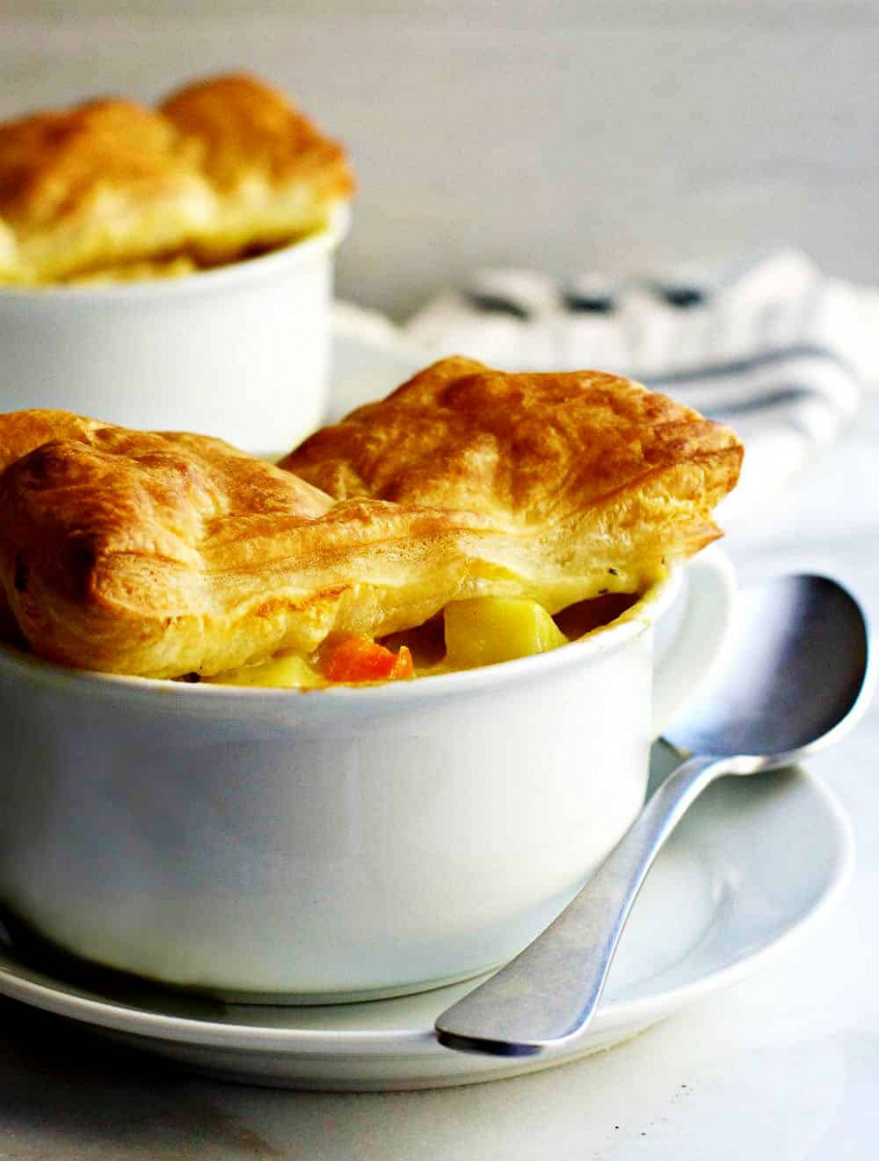 Chicken Pot Pie with Puff Pastry - Pinch and Swirl - puff pastry recipes dinner