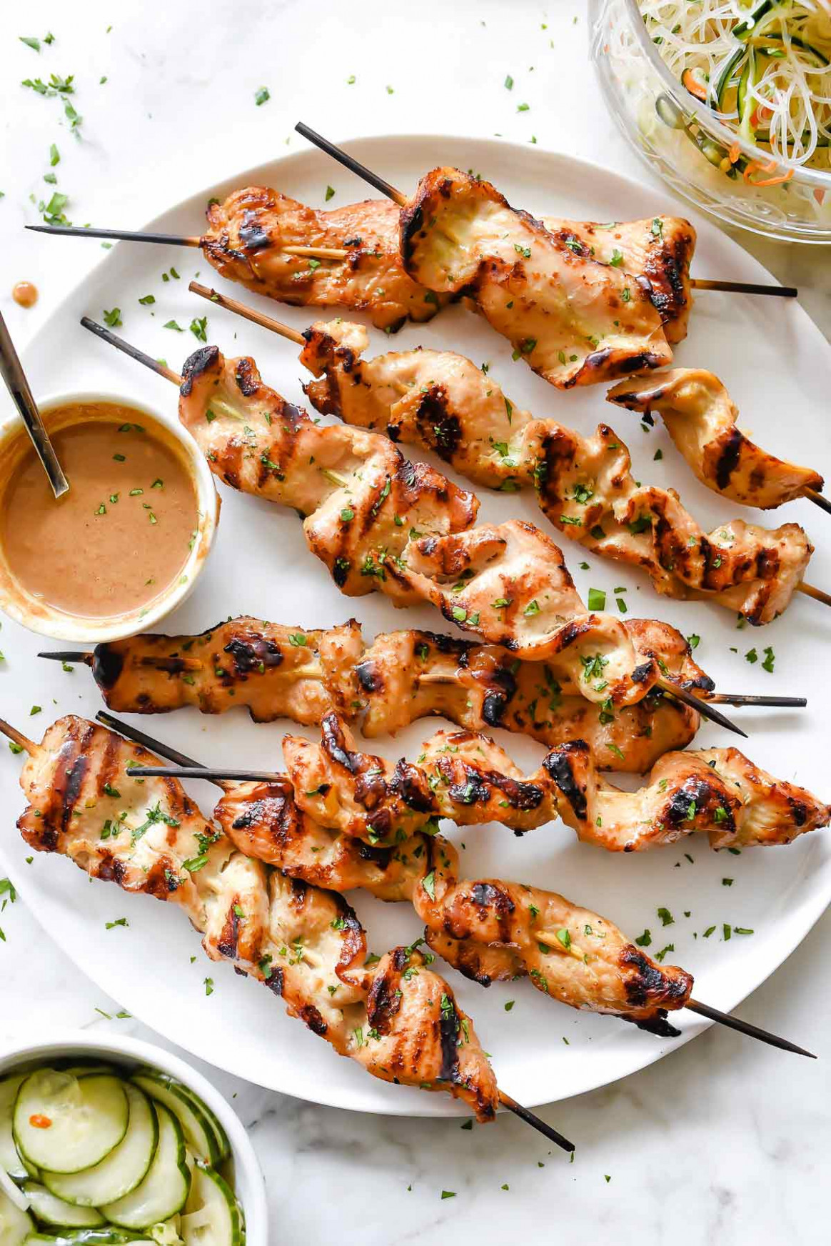 Chicken Satay with Lighter Almond Dipping Sauce ..
