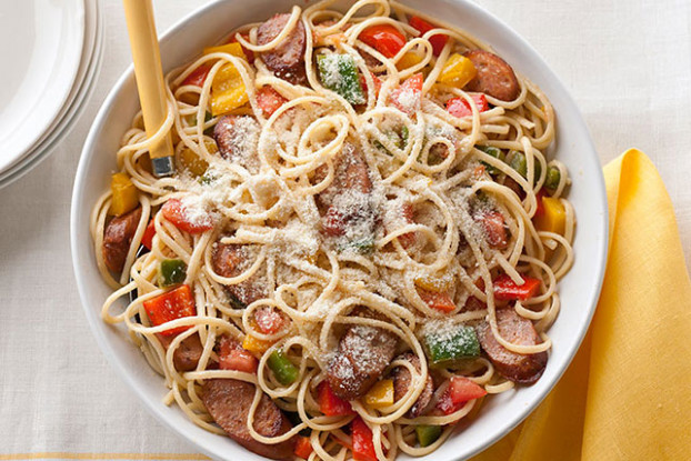 Chicken Sausage, Peppers & Tomatoes with Linguine - Kraft ..