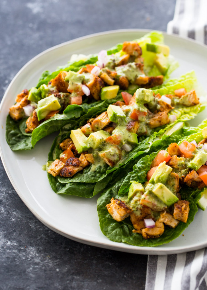 Chicken Taco Lettuce Wraps (Healthy, Low-carb, Keto) - healthy recipes no carbs no sugar