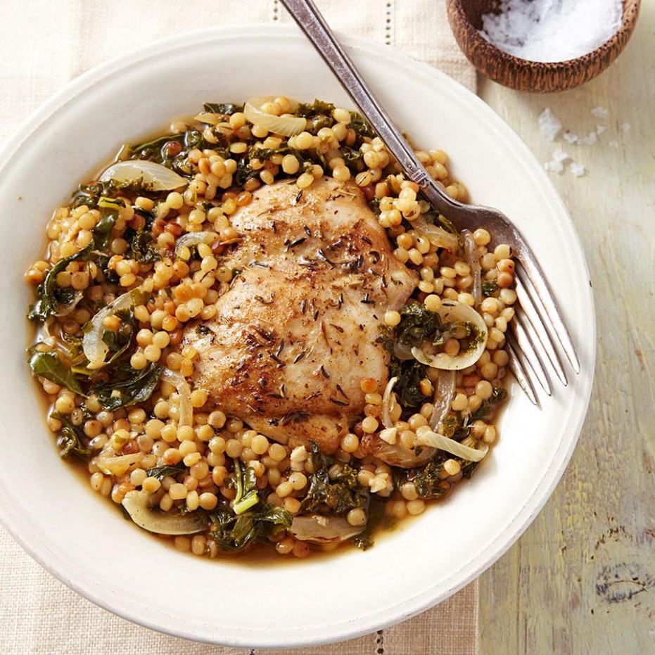 Chicken Thighs with Couscous & Kale - recipes kale and chicken