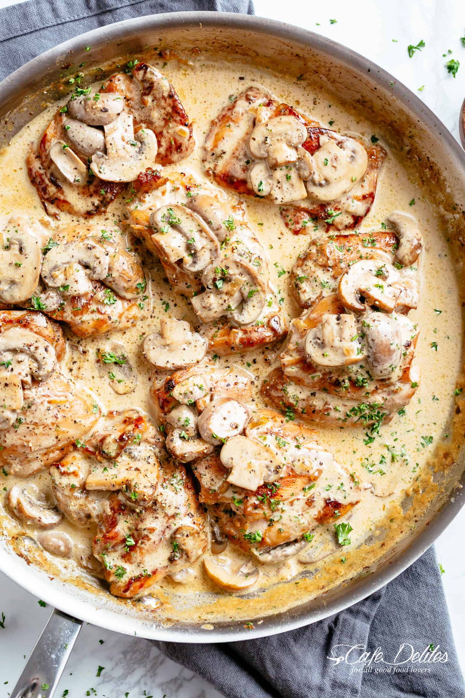 Chicken Thighs With Creamy Mushroom Garlic Sauce - Cafe Delites - Uk Recipes Chicken Breasts