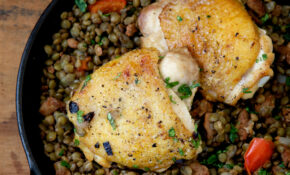 Chicken Thighs With Lentils, Chorizo, And Red Pepper ..
