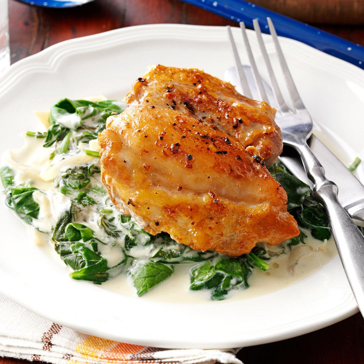 Chicken Thighs with Shallots & Spinach Recipe | Taste of Home - spinach recipes dinner