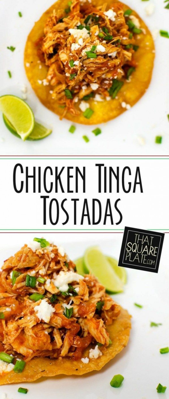 Chicken Tinga Tostadas - recipes authentic mexican food