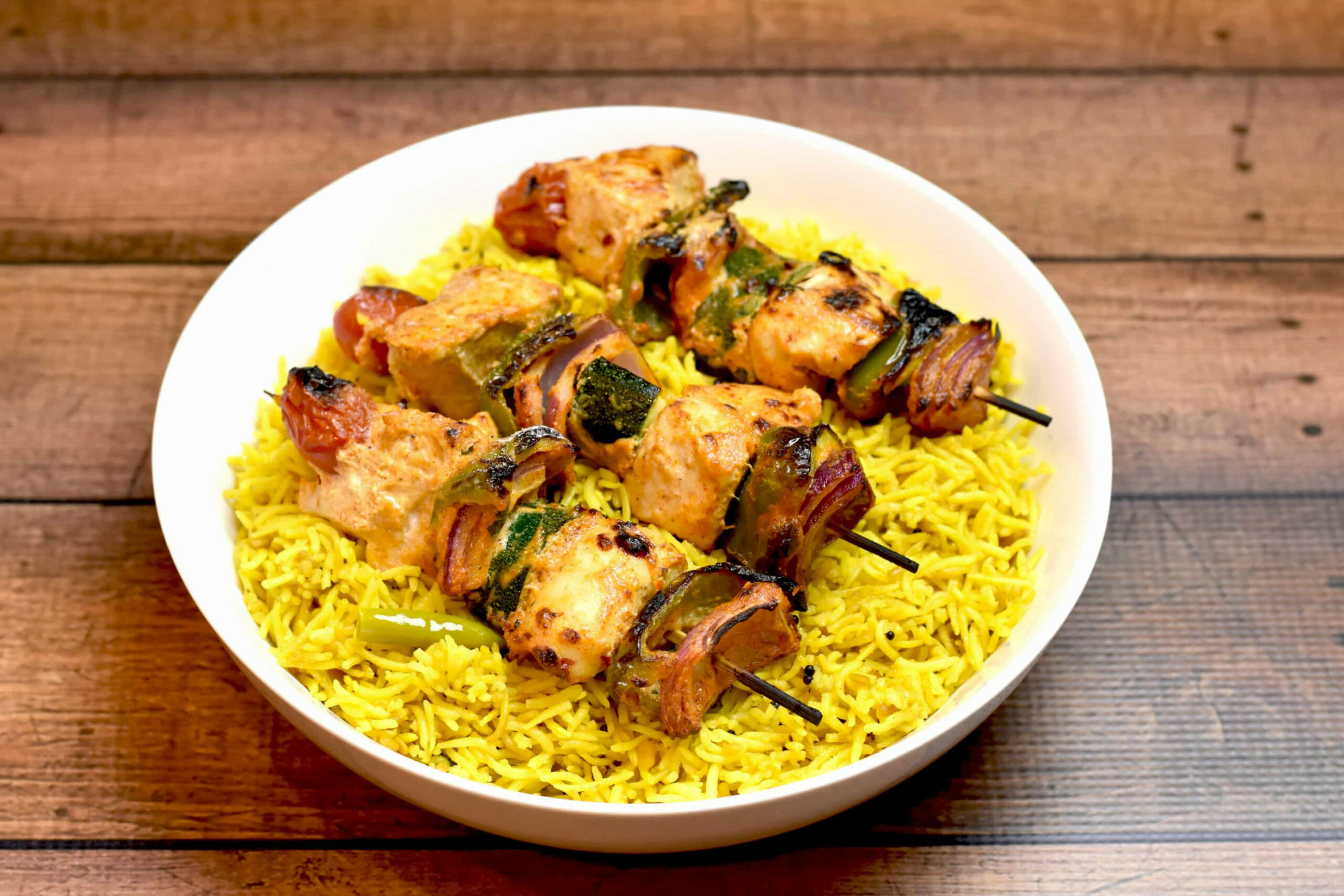 Chicken & Vegetable Skewers with Lemon Rice - kabob recipes chicken