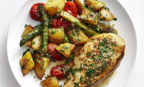 Chicken with Garlic Potatoes and Asparagus | Recipe | Yum ...