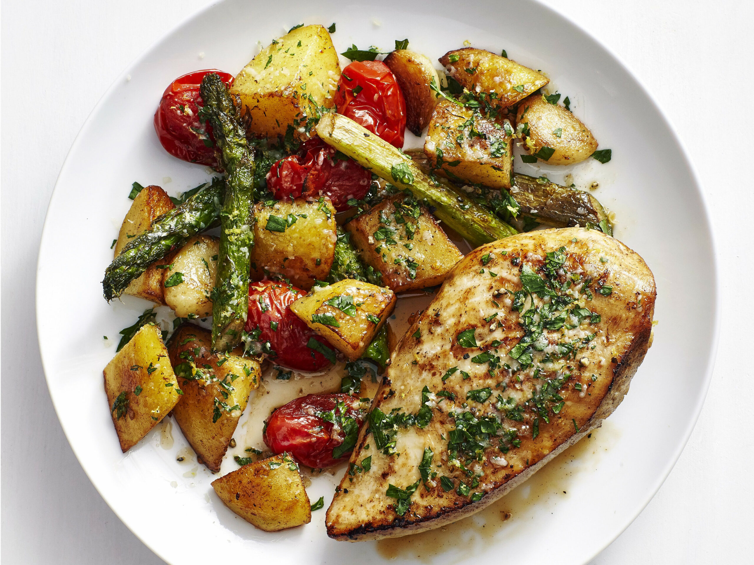 Chicken with Garlic Potatoes and Asparagus | Recipe | Yum ..