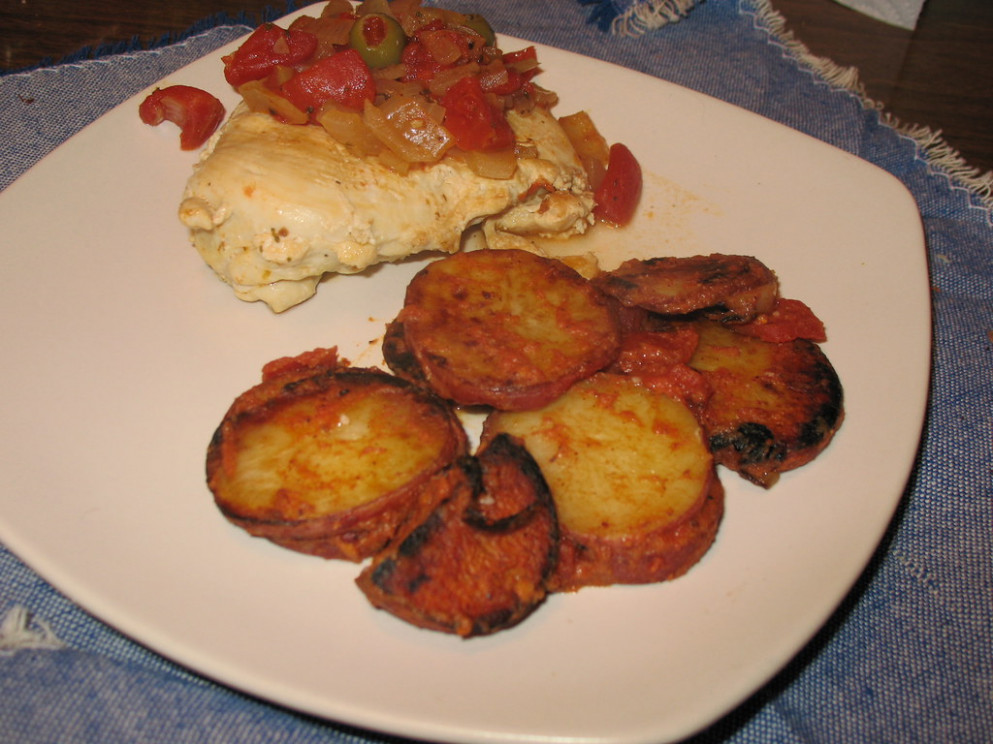 Chicken with Olives and Spanish Potatoes (12/15/07) - quick recipes chicken breast