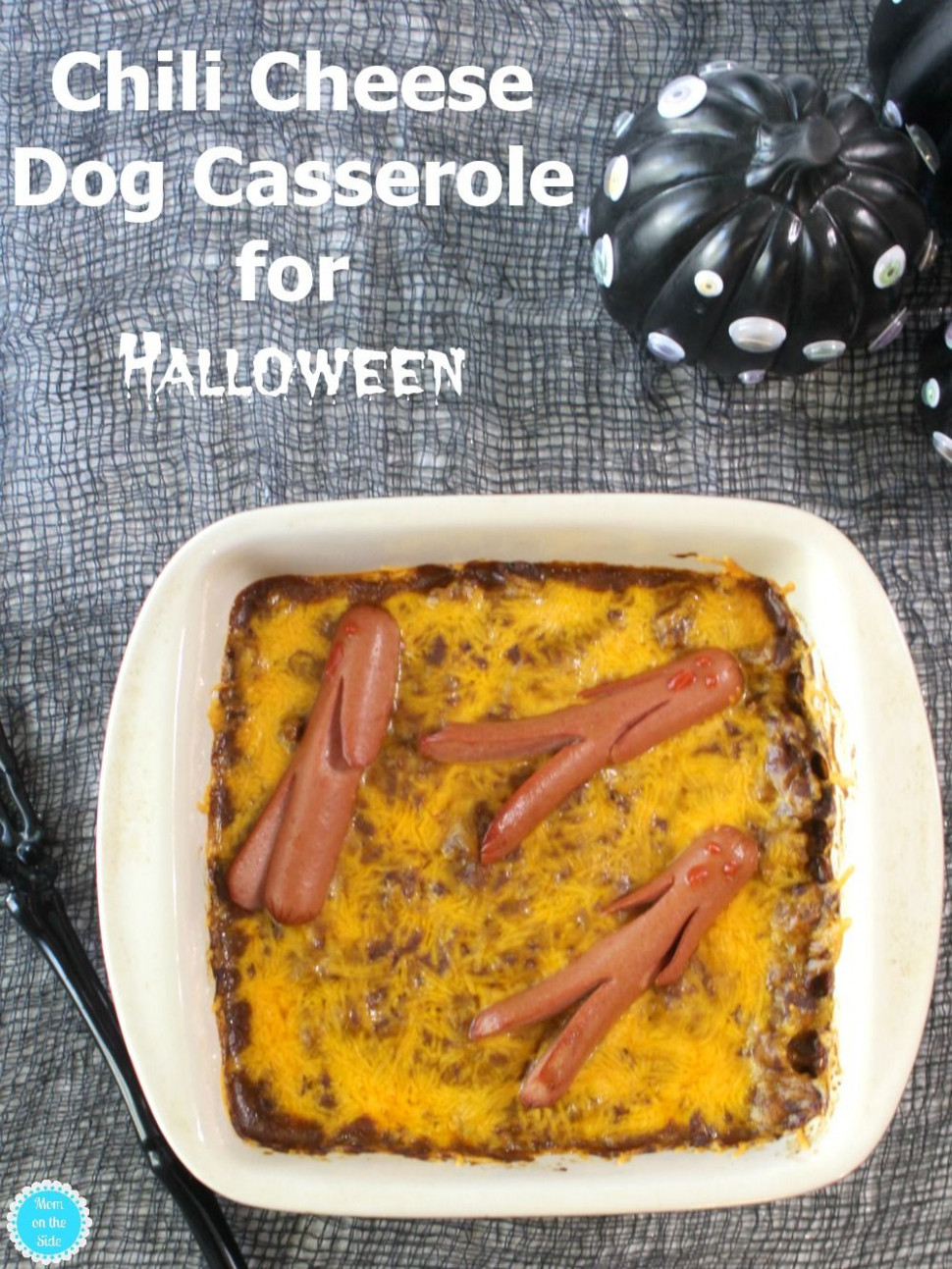Chili Cheese Dog Casserole for Halloween - recipes halloween dinner
