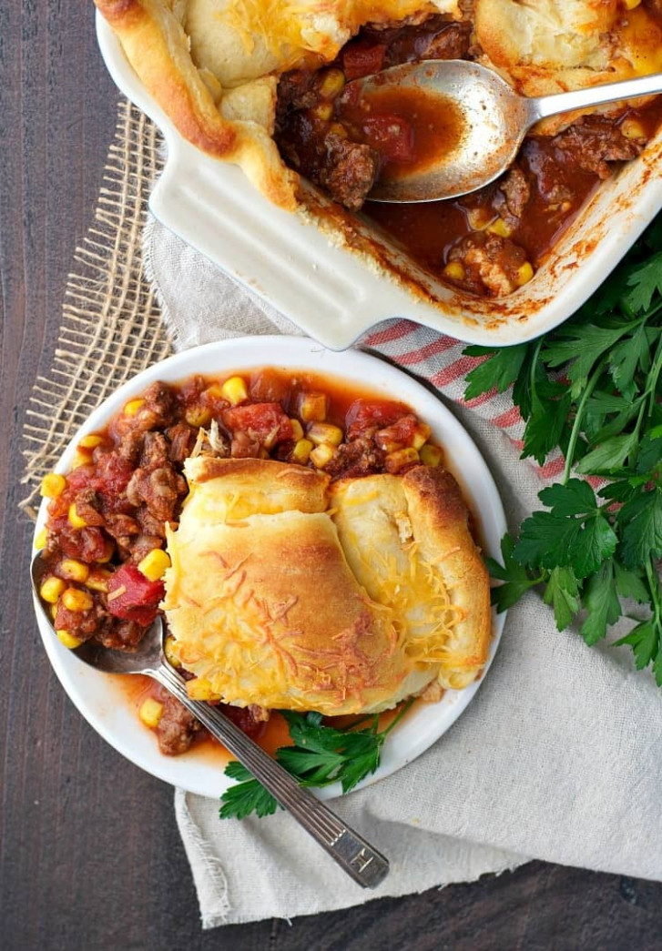 Chili Crescent Roll Bake - crescent roll recipes dinner