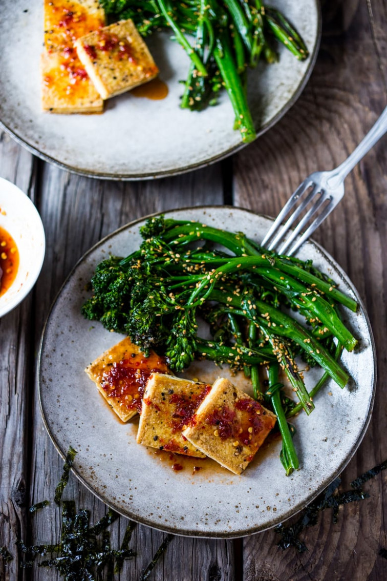 Chili garlic tofu with sesame broccolini - tofu recipes dinner