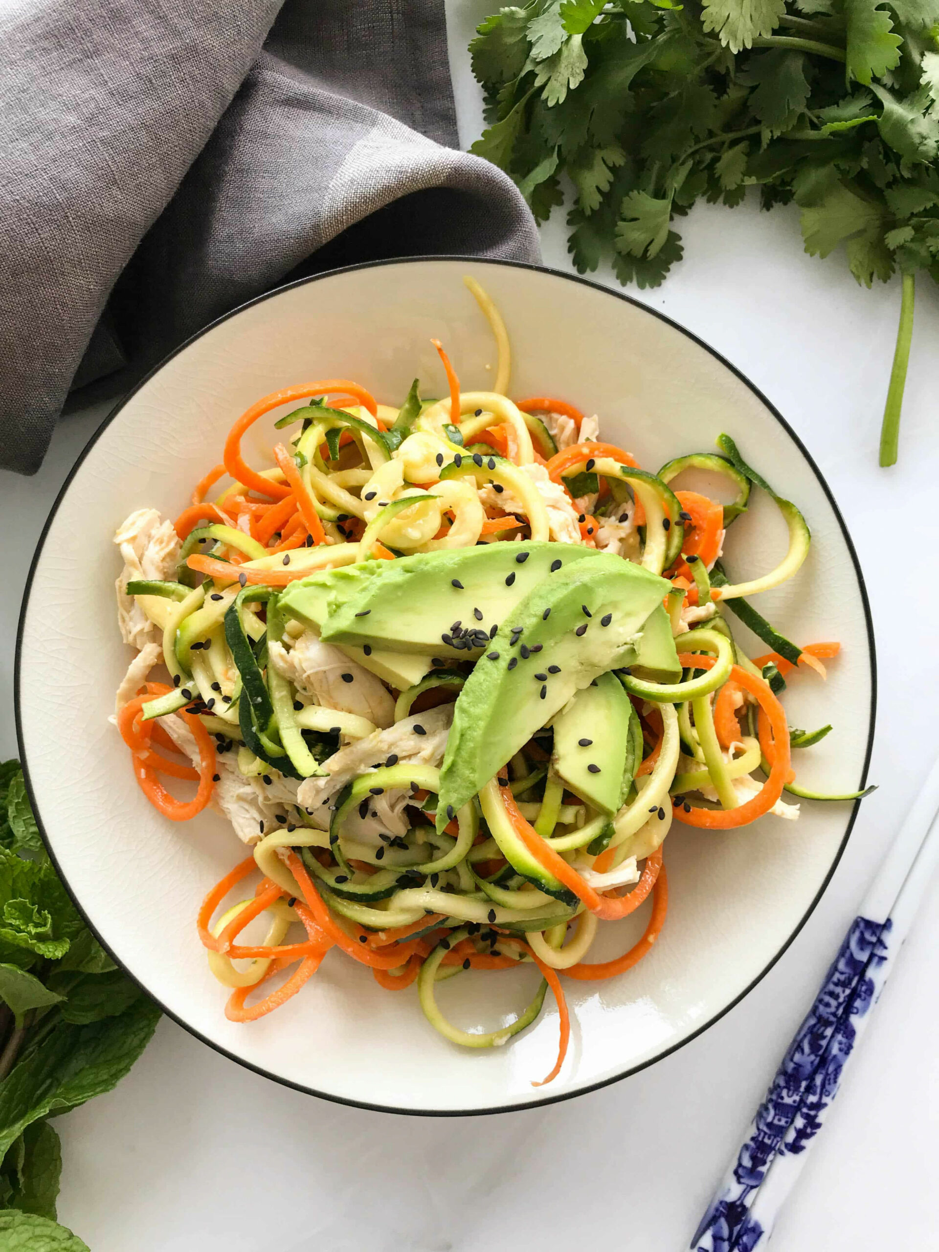 Chilled Asian Zoodle Salad with Chicken + Avocado - chicken recipe zoodle