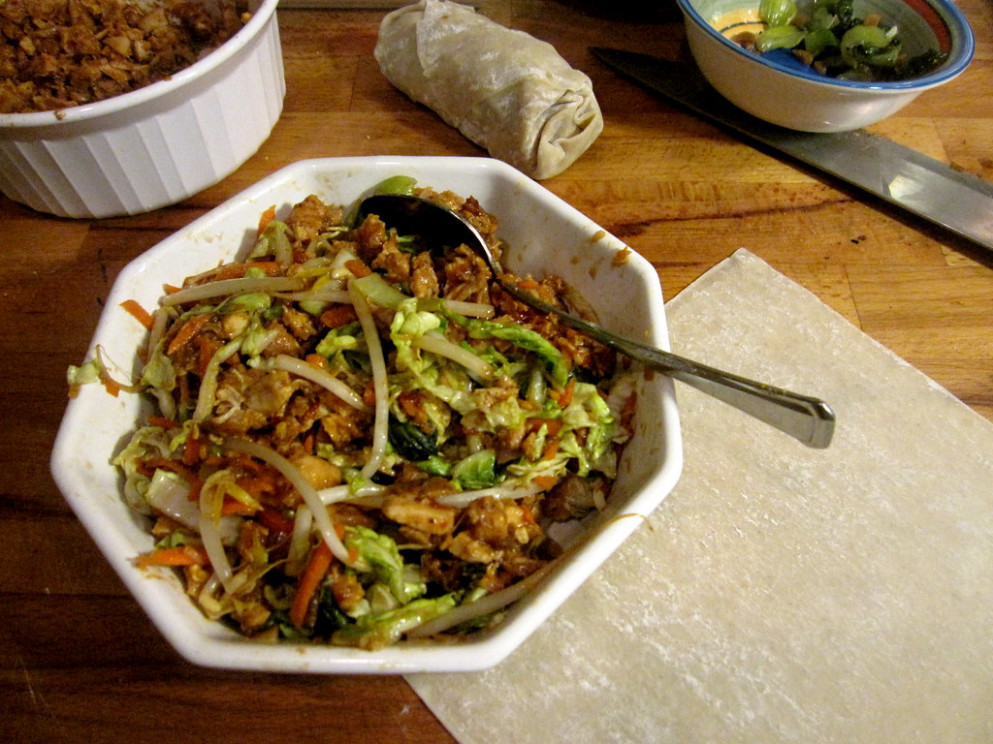 Chinese BBQ Chili Chicken & Cabbage mixture for Egg Rolls - recipes hoisin sauce chicken