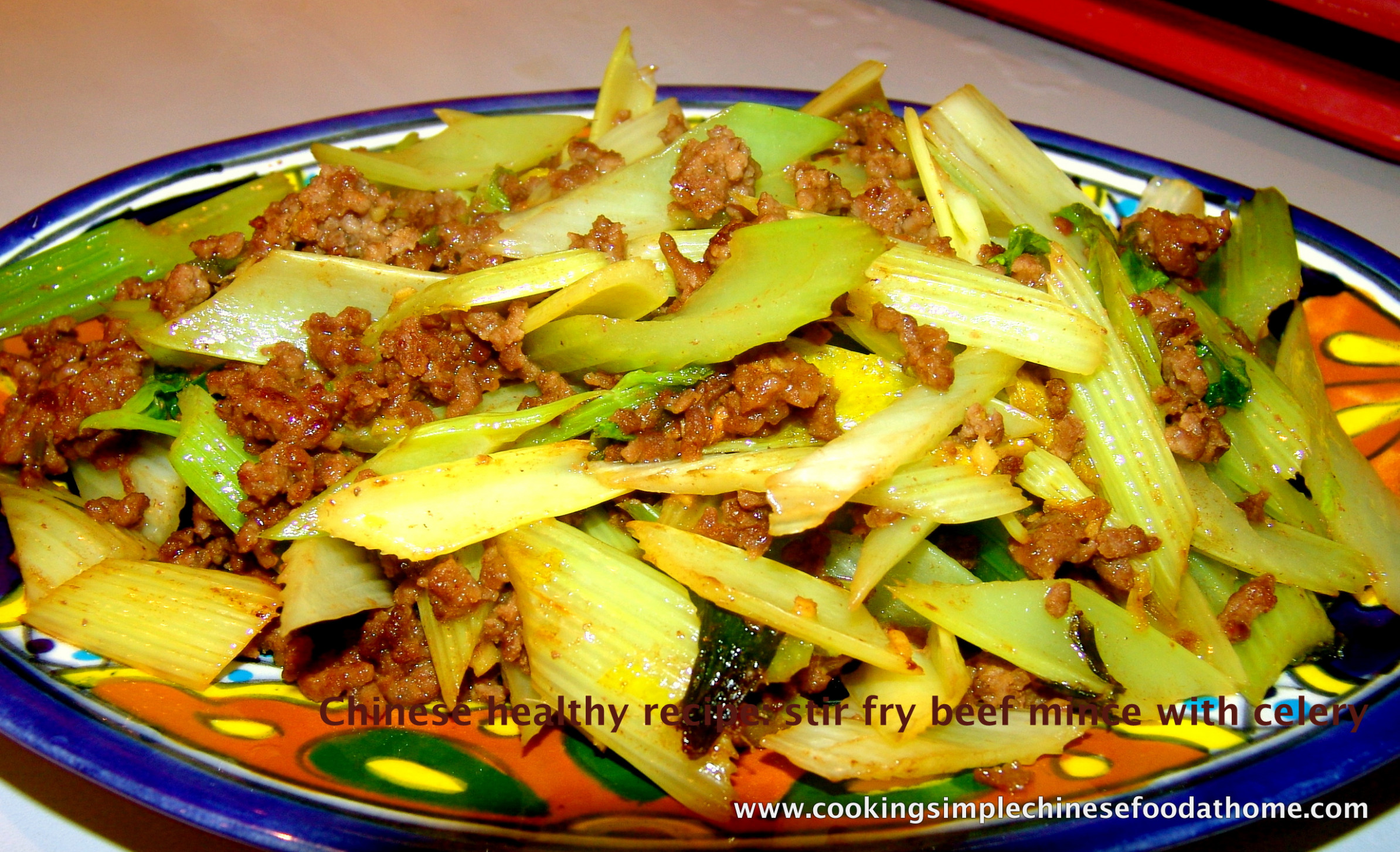 Chinese stir fried beef mince with celery - recipes minced meat healthy