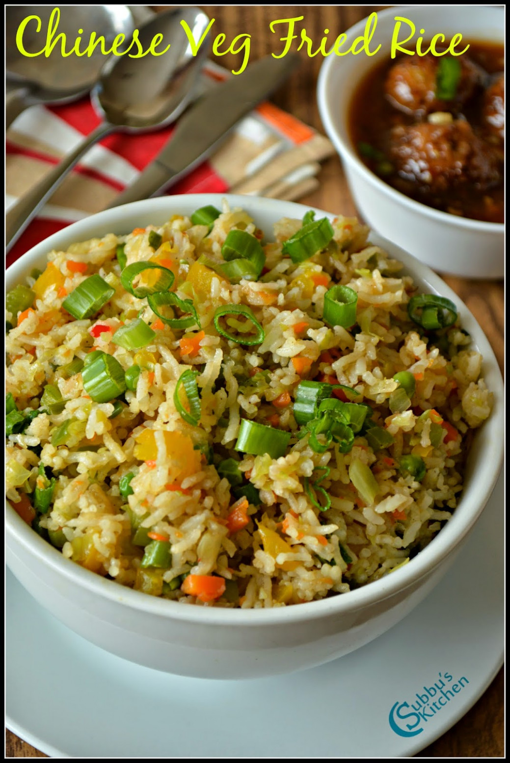 Chinese Vegetable Fried Rice Recipe | Subbus Kitchen - recipes with rice vegetarian