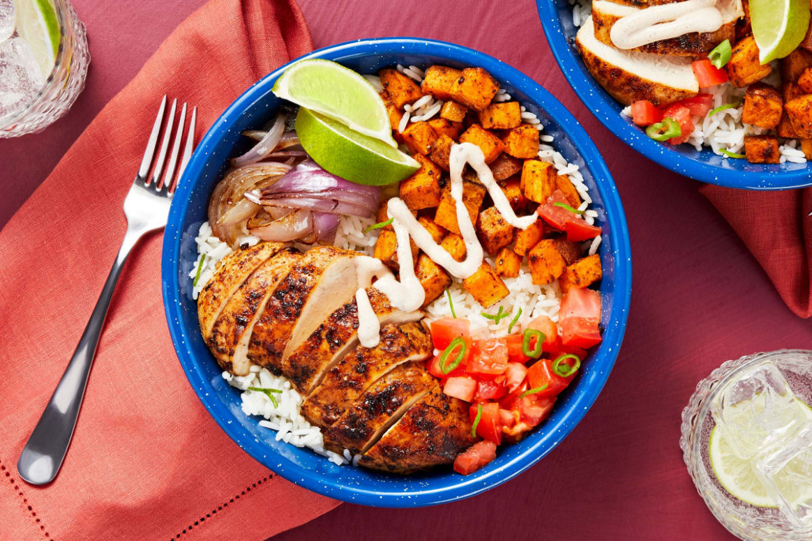 Chipotle Chicken and Rice Bowl with Roasted Sweet Potatoes and Salsa Fresca - rice bowl recipes chicken