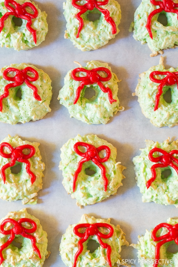 Christmas Wreath Coconut Macaroons - A Spicy Perspective - Paleo And Vegetarian Recipes