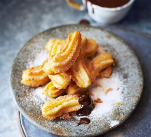 Churros with chocolate dipping sauce recipe | BBC Good Food - recipes bbc good food