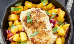 Coconut Almond Crusted Cod With Pineapple Peach Salsa ..