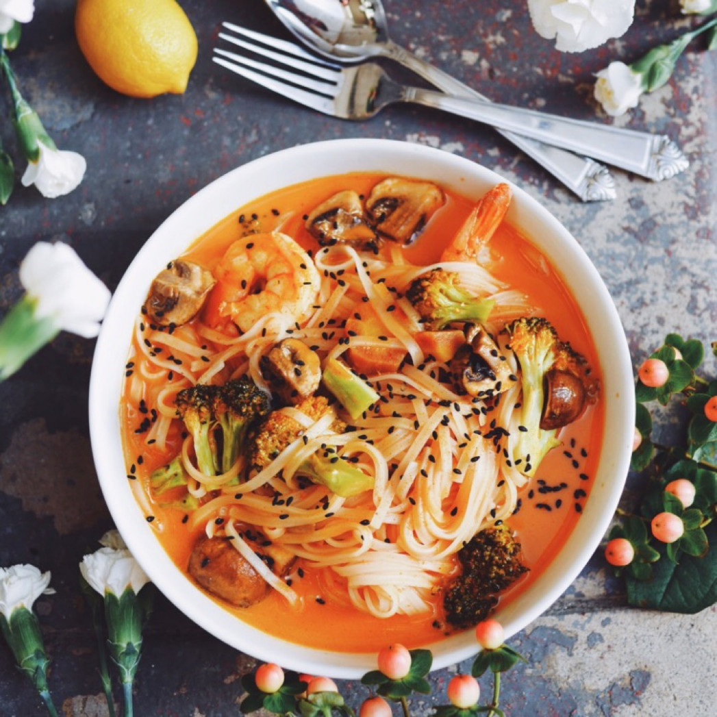 Coconut Curry With Rice Noodles Recipe | Kitchenbowl - food recipes noodles